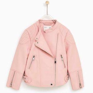 Zara pink leather biker jacket